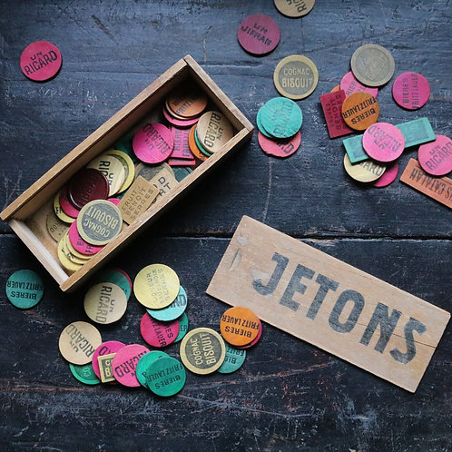 French Vintage Wooden Bar Jetons Aperitif Tokens