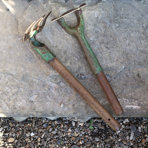 Vintage Garden Tools Hand Hoe and Rake Set