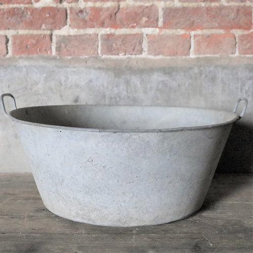 Large Galvanised Pan Planter