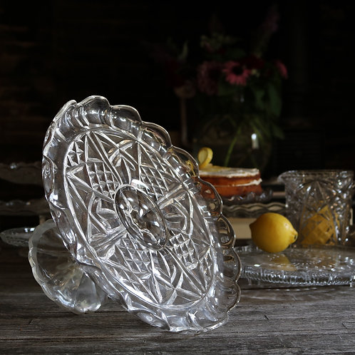 Vintage Pressed Glass Cake Stand Extra Large
