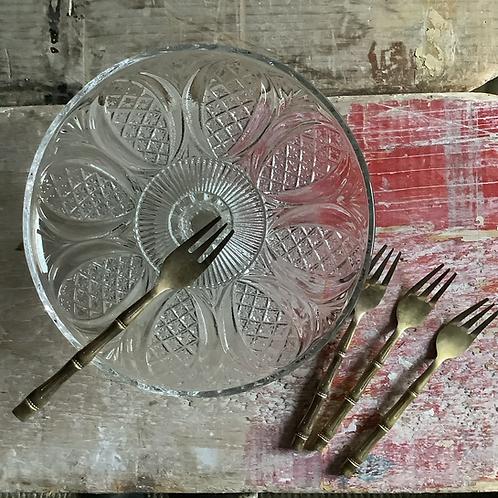 Vintage Gold Bamboo Cake Forks