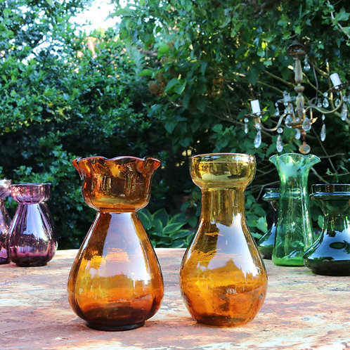 Antique Hyacinth  Vases Amber