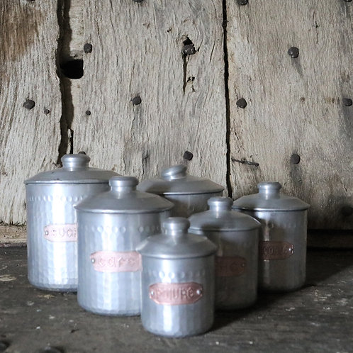 Complete Set 6 French Vintage Dimpled Aluminium KitchenCanisters