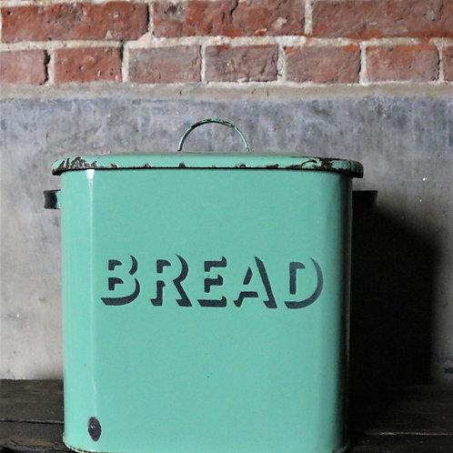 Vintage Green Enamel Bread Bin