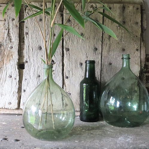 Smaller Green French Vintage Glass Bottle Carboy