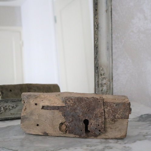 Antique French Rustic Oak and Iron Lock