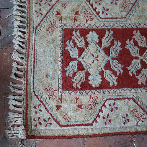 Handwoven Vintage Wool Rug Terracotta and Duck Egg Blue