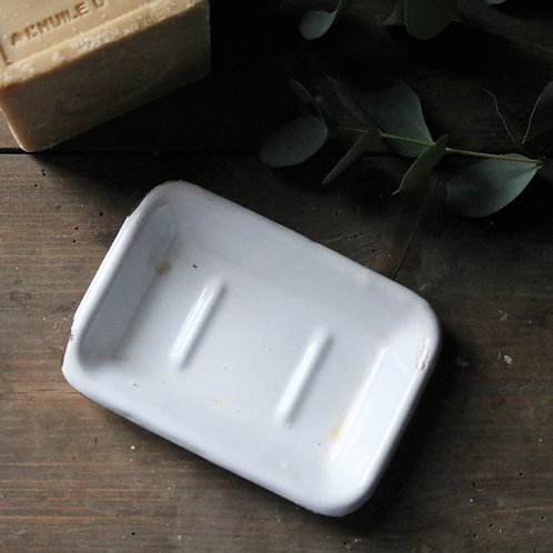 French Vintage White Enamel Soap Dish