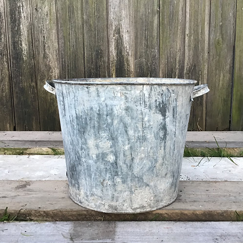 Vintage Galvanised Planter Bucket Container
