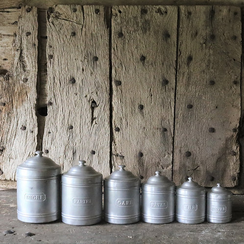 Complete Set 6 French Vintage Aluminium Kitchen Canisters
