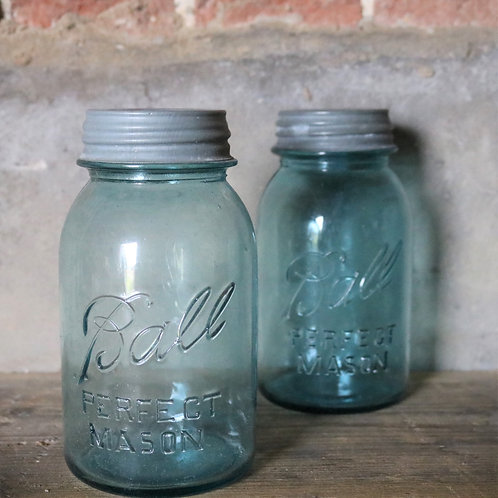 Original Vintage Aqua Blue Quart Mason's Ball Jars