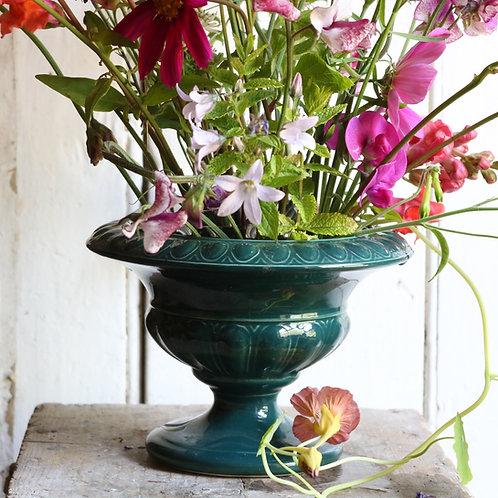 Vintage Holkham Studio Pottery Large Green Pedestal Urn Vase