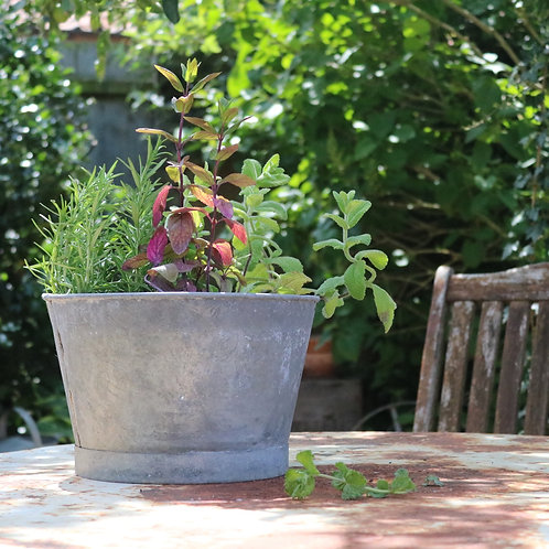 Galvanised Zinc Planter Small
