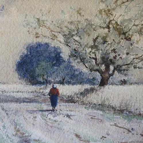 Original Watercolour - Lady in the Snow Le Bon