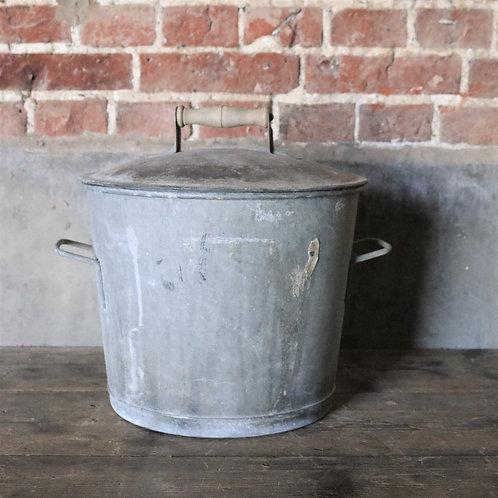 Galvanised Lidded Bucket Bin Planter