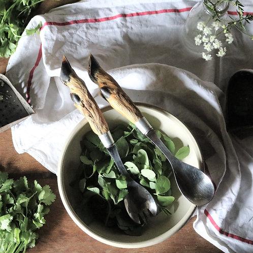 French Vintage Taxidermy Deer Hoof Salad Servers