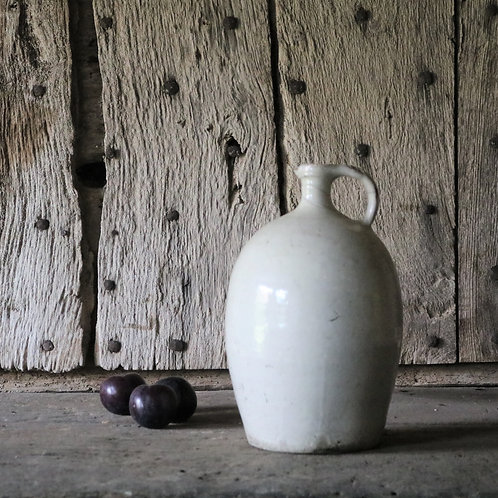 French Vintage Pale Stoneware Rustic Flagon Jug