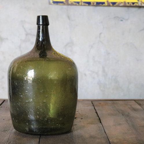 Large Green Glass Hand Blown Antique Carboy Bottle Vase