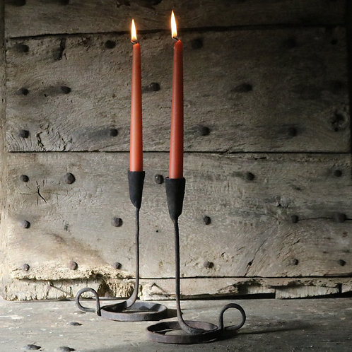French Vintage Hand Forged Iron Candlesticks Pair