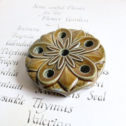 Green Flower Frog Vintage Ceramic