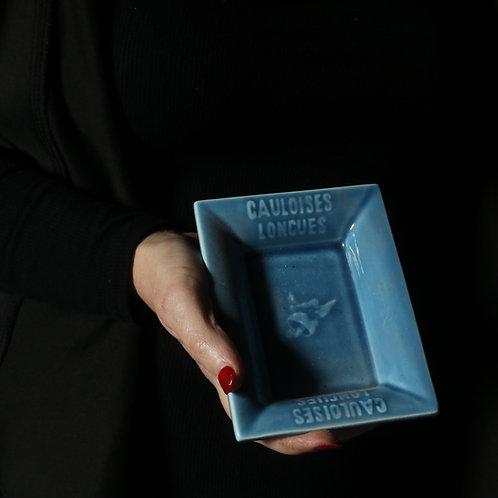 Blue Ceramic  French Vintage Ashtray Gauloises Longues
