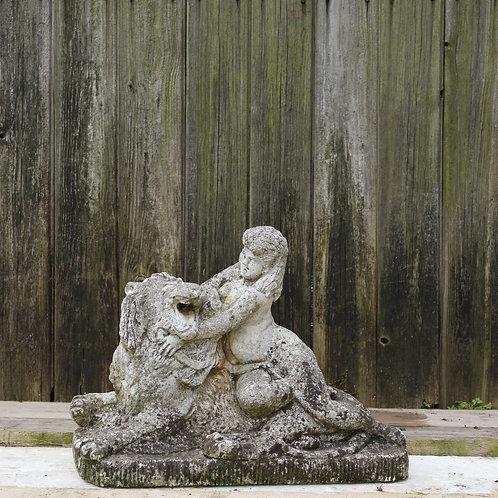 Antique Composite Lion and Cherub Fountain Statue