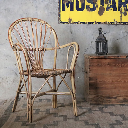 Vintage Bamboo Cane Chair