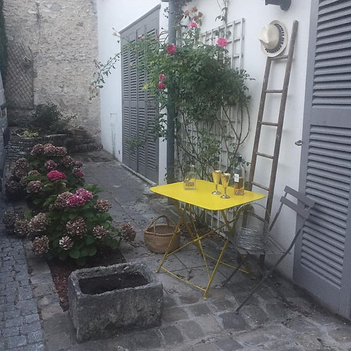Sunny Yellow Painted French Folding Vintage Bistro Table
