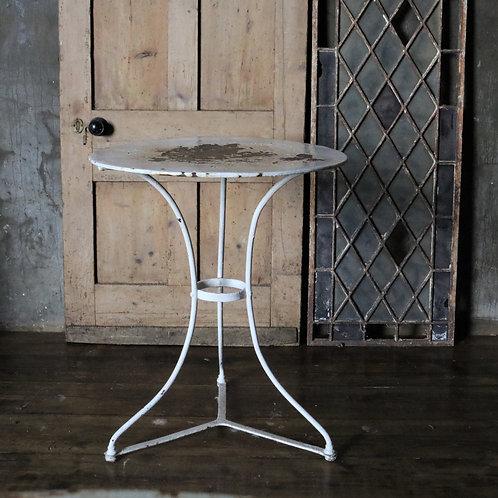 French Vintage White Metal Bistro Table