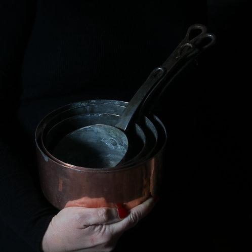 French Vintage Copper Saucepans - Set of 4