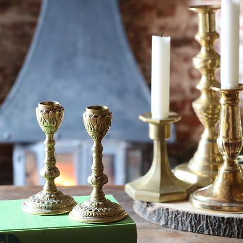 Vintage Peerage Brass Candlesticks - Small
