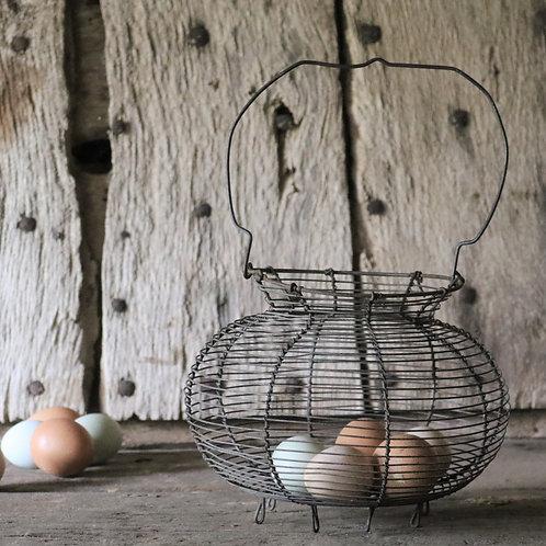 French Vintage Wirework Egg Basket