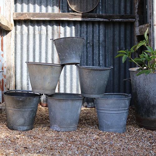 Galvanised Buckets Original Vintage