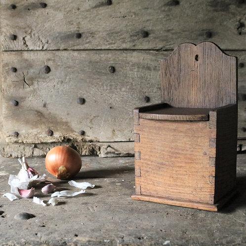 French Vintage Oak Salt Box