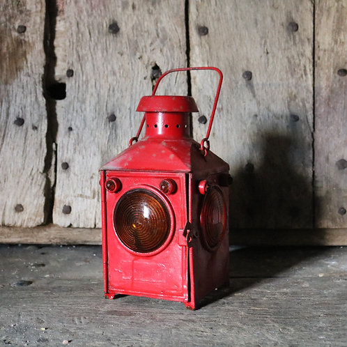 French Vintage Red Railway Oil Lamp