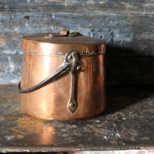 Antique Copper Cooking Pot with Lid