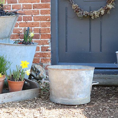 Vintage Galvanised Planter Garden Pot Heavy Duty
