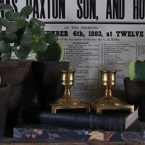 Vintage Brass Square Based Candlesticks - pair