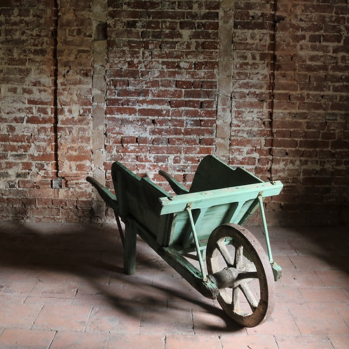 Antique French Rustic Wheelbarrow Green