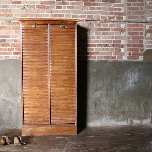 Large Oak Tambour Fronted Filing Cabinet