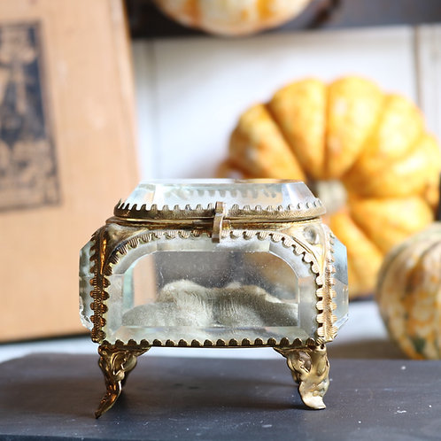 Antique French Glass Jewellery Trinket Box