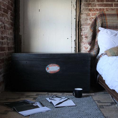 Large Black Vintage Painted Chest Trunk Blanket Box