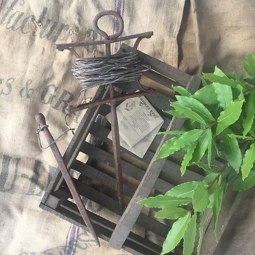 Original Antique Cast Iron  Vintage Garden Seed Planting String Line