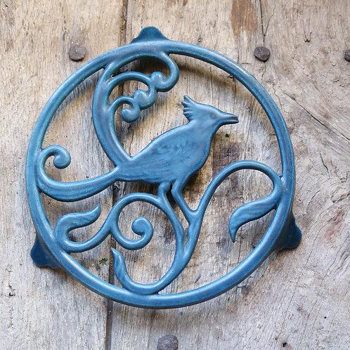 French Bird Trivet - Petrol Blue