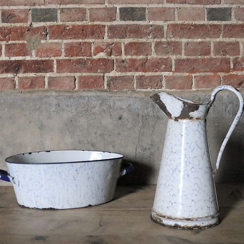 French Vintage Enamelware Set -Pitcher and Tub