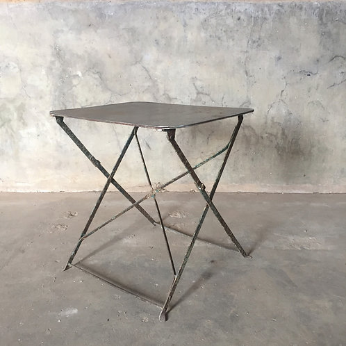 French Antique Vintage Folding Bistro with Steel Table Top