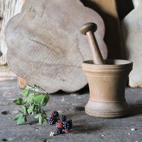 Vintage Hand-turned Pestle and Mortar