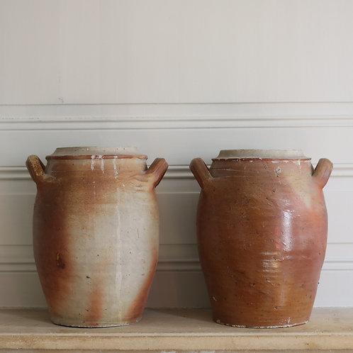 Large Antique Earthenware Preserving Confit Pots