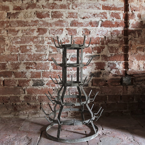 Small Counter Table Top French Vintage Galvanised Bottle Dryer Herisson Small