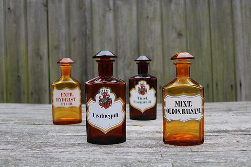 Apothecary Pharmacy Laboratory Bottles Antique Set of 4
